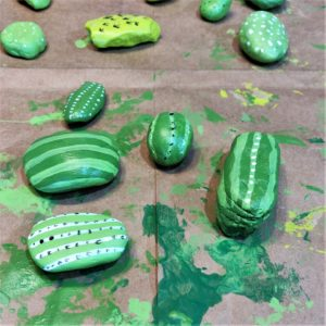 DIY Painted Cactus Rocks - Painting the detail