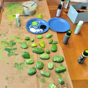 DIY Painted Cactus Rocks are a messy craft! Project your work surface.
