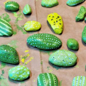 Painted rocks project - the cactus details